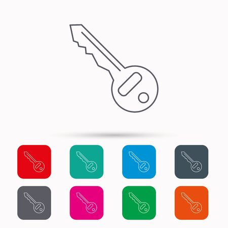 tool unlock: Key icon. Door unlock tool sign. Linear icons in squares on white background. Flat web symbols. Vector