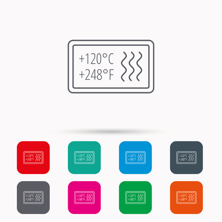 resistant: Heat resistant icon. Microwave or dishwasher information sign. Attention symbol. Linear icons in squares on white background. Flat web symbols. Vector Illustration