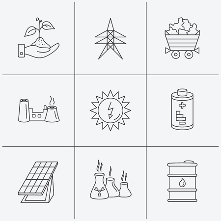 collector: Solar collector energy, battery and oil barrel icons. Minerals, electricity station and factory linear signs. Industries, save nature icons. Linear icons on white background. Vector