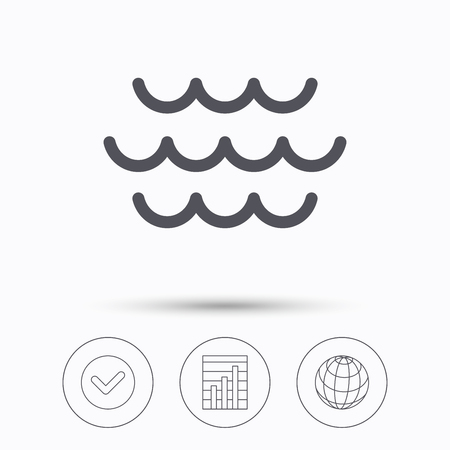 water stream: Wave icon. Water stream symbol. Check tick, graph chart and internet globe. Linear icons on white background. Vector