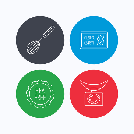 bpa: Kitchen scales, whisk and heat-resistant icons. BPA free linear sign. Linear icons on colored buttons. Flat web symbols. Vector