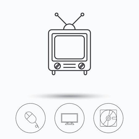 ハード ディスク、pc マウスとレトロなテレビ アイコン。ワイド スクリーン テレビの線形符号。サークル ボタンで線形のアイコン。フラット web シンボル。ベクトル