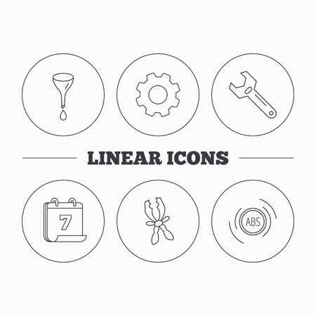 abs: Adjustable wrench, oil change and abs icons. Battery terminal linear sign. Flat cogwheel and calendar symbols. Linear icons in circle buttons. Vector