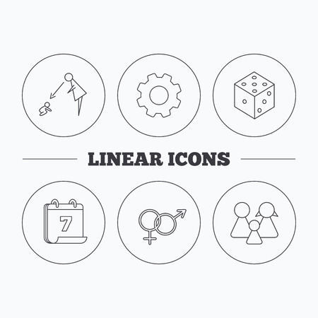 doctor toys: Male, female, dice and family icons. Under supervision linear sign. Flat cogwheel and calendar symbols. Linear icons in circle buttons. Vector Illustration