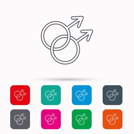 Gay couple icon. Homosexual sign. Linear icons in squares on white background. Flat web symbols. Vector