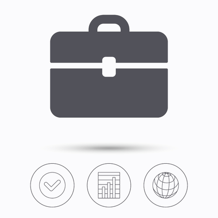business symbol: Briefcase icon. Diplomat handbag symbol. Business case sign. Check tick, graph chart and internet globe. Linear icons on white background. Vector Illustration