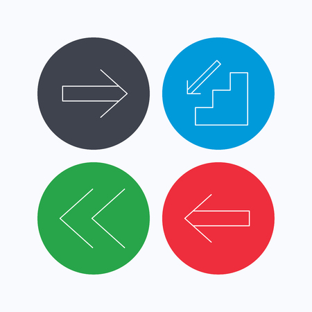 downstairs: Arrows icons. Downstairs, next and back linear signs. Next, back arrows flat line icons. Linear icons on colored buttons. Flat web symbols. Vector