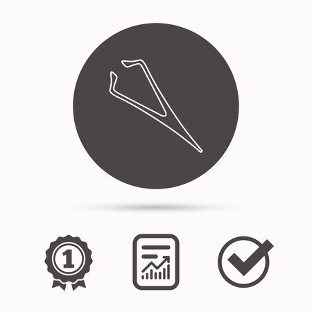 tweezer: Eyebrow tweezers icon. Cosmetic equipment sign. Aesthetic beauty symbol. Report document, winner award and tick. Round circle button with icon. Vector