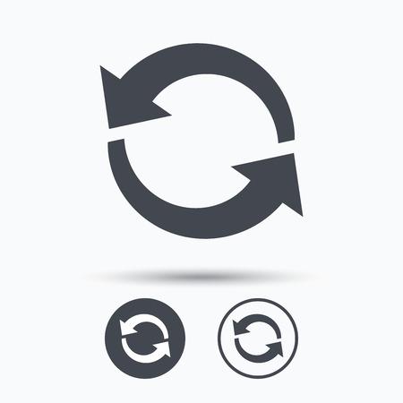 refrescar: Icon. Actualizar o repetir símbolo. Botones de círculo con el icono de banda plana en el fondo blanco. Vector Vectores