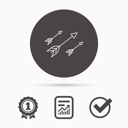 darts flying: Bow arrows icon. Hunting sport equipment sign. Archer weapon symbol. Report document, winner award and tick. Round circle button with icon. Vector