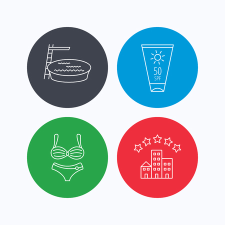 sun cream: Hotel, swimming pool and sun cream icons. Lingerie linear sign. Linear icons on colored buttons. Flat web symbols. Vector