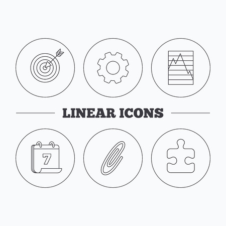 safety circle: Puzzle, graph charts and target icons. Safety pin linear sign. Flat cogwheel and calendar symbols. Linear icons in circle buttons. Vector