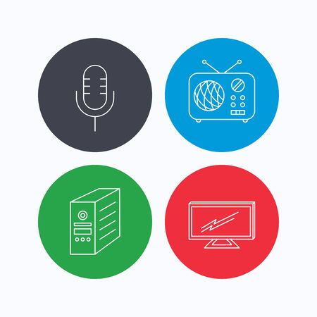 tv retro: TV, retro radio and microphone icons. PC case linear sign. Linear icons on colored buttons. Flat web symbols. Vector