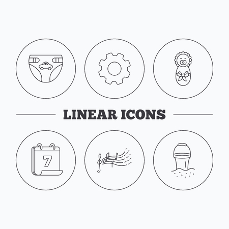 beach bucket: Diapers, newborn baby and songs for kids icons. Beach bucket linear sign. Flat cogwheel and calendar symbols. Linear icons in circle buttons. Vector