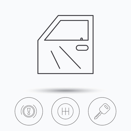 gearbox: Car key, warning and manual gearbox icons. Car door, transmission linear signs. Linear icons in circle buttons. Flat web symbols. Vector Illustration