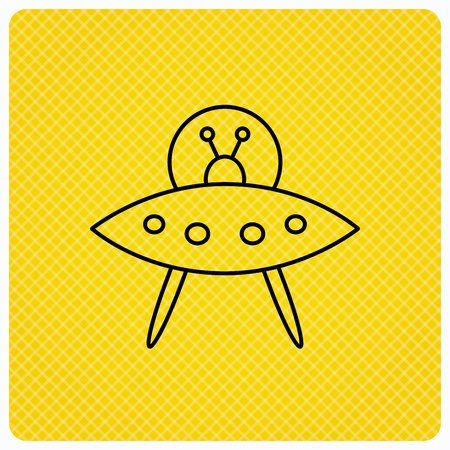 martians: UFO icon. Unknown flying object sign. Martians symbol. Linear icon on orange background. Vector