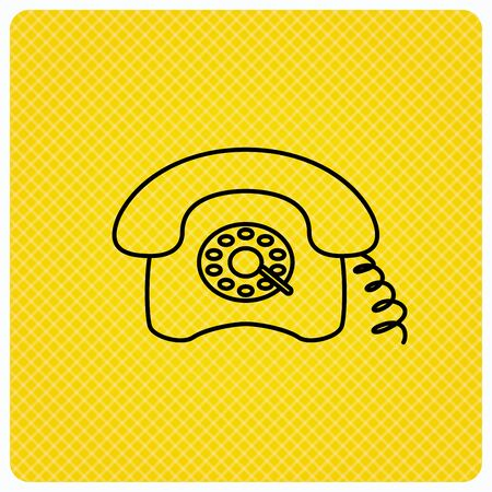old telephone: Retro phone icon. Old telephone sign. Linear icon on orange background. Vector