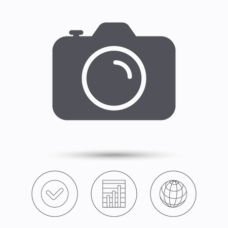 photocamera: Camera icon. Professional photocamera symbol. Check tick, graph chart and internet globe. Linear icons on white background. Vector