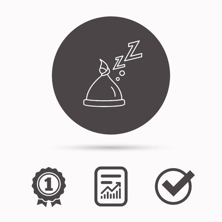 nodule: Baby hat with nodule icon. Newborn cap sign. Toddler sleeping clothes symbol. Report document, winner award and tick. Round circle button with icon. Vector