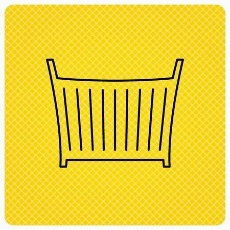 baby crib: Baby crib bed icon. Child cradle sign. Newborn sleeping cot symbol. Linear icon on orange background. Vector Illustration