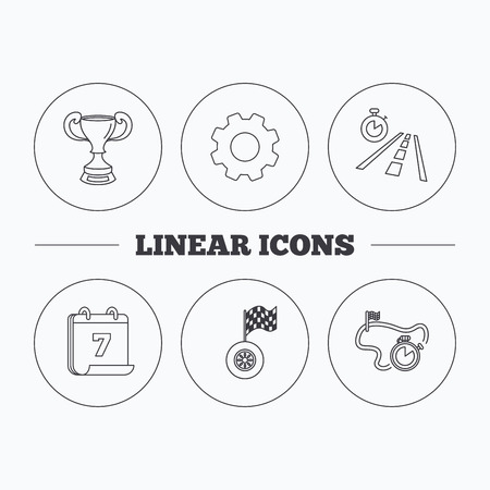 race winner: Winner cup, race timer and flag icons. Travel time linear sign. Flat cogwheel and calendar symbols. Linear icons in circle buttons. Vector