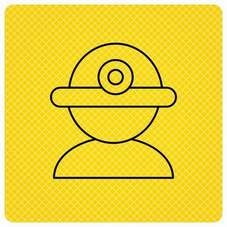 industrialist: Worker icon. Engineering helmet sign. Linear icon on orange background. Vector