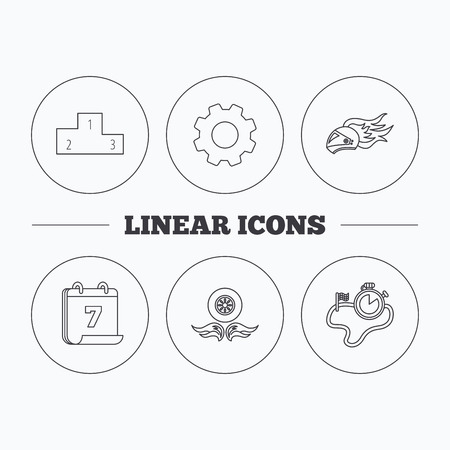 race winner: Winner podium, race timer and wheel on fire icons. Motorcycle helmet on fire linear sign. Flat cogwheel and calendar symbols. Linear icons in circle buttons. Vector Illustration