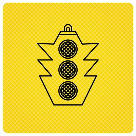 regulate: Traffic light icon. Safety direction regulate sign. Linear icon on orange background. Vector Illustration