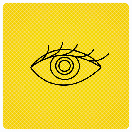 ophthalmology: Eye icon. Human vision sign. Ophthalmology symbol. Linear icon on orange background. Vector