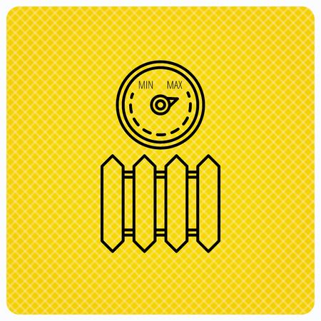 maximum: Radiator with regulator icon. Heater sign. Maximum temperature. Linear icon on orange background. Vector Illustration