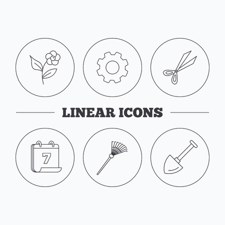 crop circles: Scissors, flower and shovel icons. Rake linear sign. Flat cogwheel and calendar symbols. Linear icons in circle buttons. Vector