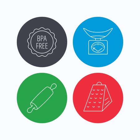 bpa: Kitchen scales, rolling pin and grater icons. BPA free linear sign. Linear icons on colored buttons. Flat web symbols. Vector