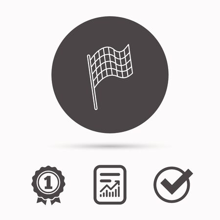 race winner: Finish flag icon. Start race sign. Report document, winner award and tick. Round circle button with icon. Vector