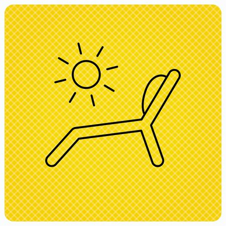 chaise longue: Deck chair icon. Beach chaise longue sign. Linear icon on orange background. Vector