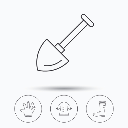 cloak: Shovel, boots and gloves icons. Cloak linear sign. Linear icons in circle buttons. Flat web symbols. Vector