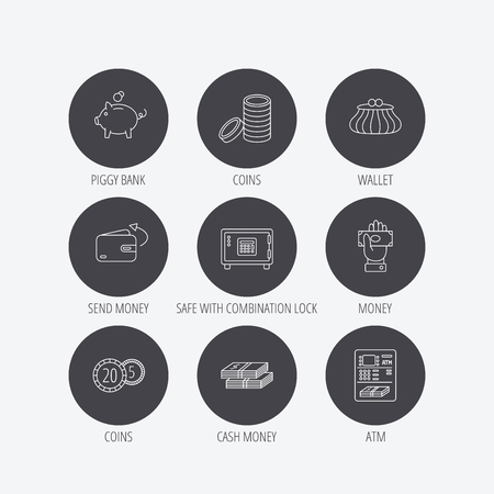 give money: Piggy bank, cash money and wallet icons. Safe box, send money and dollar usd linear signs. Give money, coins and ATM icons. Linear icons in circle buttons. Flat web symbols. Vector