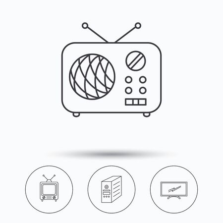 pc case: Retro TV, radio and PC case icons. Computer linear sign. Linear icons in circle buttons. Flat web symbols. Vector