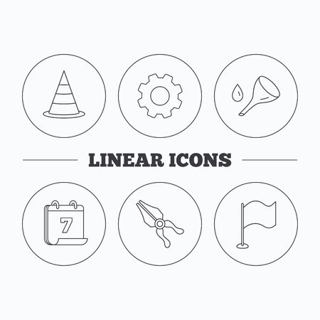 oil change: Flag, traffic cone and oil change icons. Pliers linear sign. Flat cogwheel and calendar symbols. Linear icons in circle buttons. Vector Illustration