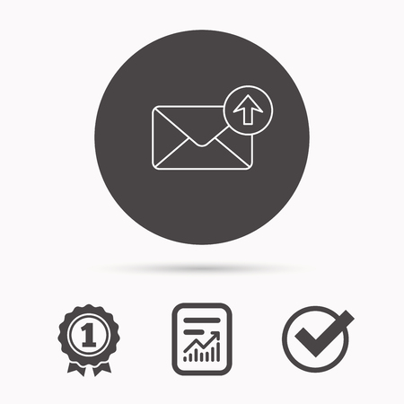 outbox: Mail outbox icon. Email message sign. Upload arrow symbol. Report document, winner award and tick. Round circle button with icon. Vector