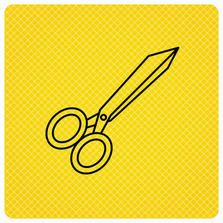 Tailor scissors icon. Hairdressing sign. Grooming symbol. Linear icon on orange background. Vector