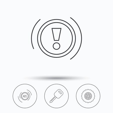 abs: Car key, abs and wheel icons. Warning ABS, attention linear signs. Linear icons in circle buttons. Flat web symbols. Vector