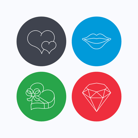 kiss lips: Love heart, brilliant and gift box icons. Kiss lips linear sign. Linear icons on colored buttons. Flat web symbols. Vector