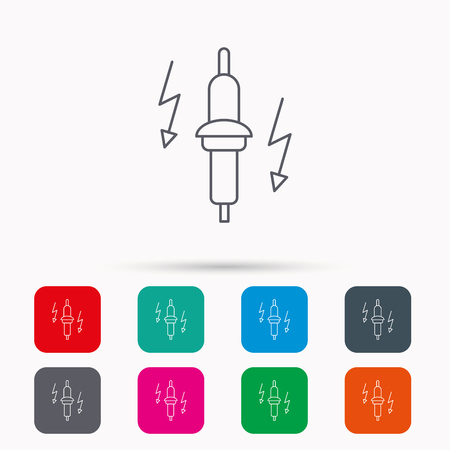 electric spark: Spark plug icon. Car electric part sign. Linear icons in squares on white background. Flat web symbols. Vector