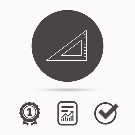 straightedge: Triangular ruler icon. Straightedge sign. Geometric symbol. Report document, winner award and tick. Round circle button with icon. Vector Illustration
