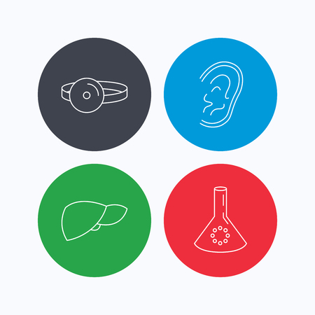 analyses: Lab bulb, medical mirror and liver organ icons. Ear linear sign. Linear icons on colored buttons. Flat web symbols. Vector