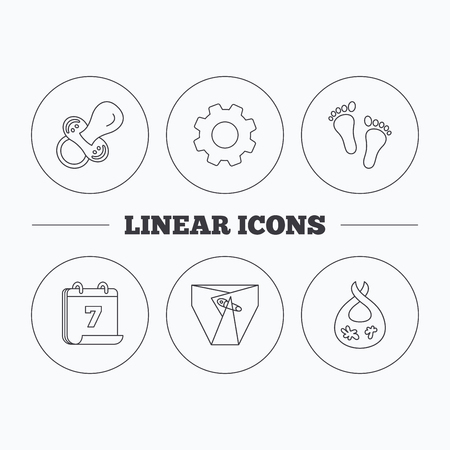 toy chest: Pacifier, footprint and child diapers icons. Dirty bib linear sign. Flat cogwheel and calendar symbols. Linear icons in circle buttons. Vector