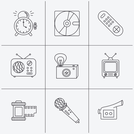 clock radio: Microphone, video camera and photo icons. Alarm clock, retro radio and TV remote linear signs. Linear icons on white background. Vector