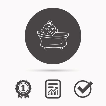 washing symbol: Baby in bath icon. Toddler bathing sign. Newborn washing symbol. Report document, winner award and tick. Round circle button with icon. Vector