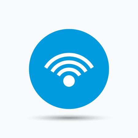 wireless communication: Wifi icon. Wireless internet sign. Communication technology symbol. Blue circle button with flat web icon. Vector Illustration