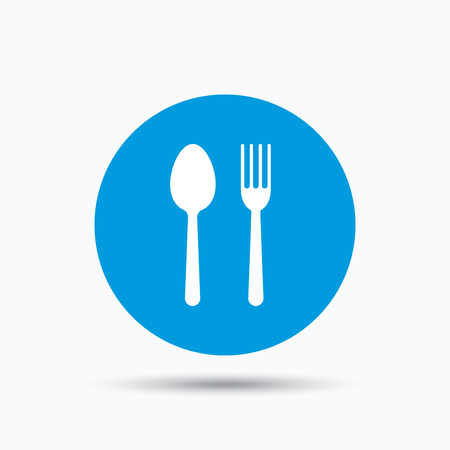 Food icons. Fork and spoon signs. Cutlery symbol. Blue circle button with flat web icon. Vector